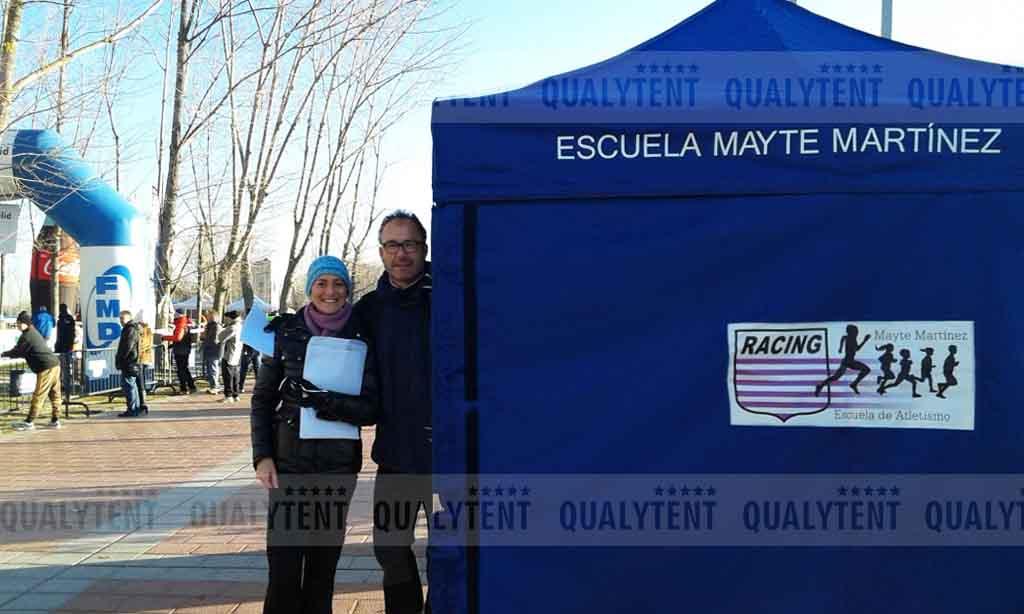 Carpa plegable de 3x3m Qualytent, carpa rotulada Escuela Atletismo Mayte Martinez de Valladolid