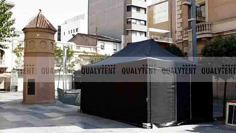 Carpa plegable de color negro Qualytent de 4x6m