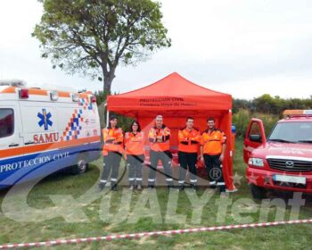 Carpa Rescue de color naranja para equipos de rescate