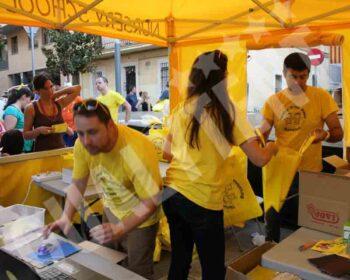 Carpas plegables amarillas para eventos y fiestas