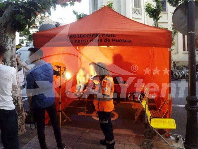 Puesto de mando avanzado para la Protección Civil de Huesca