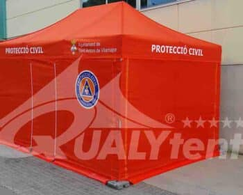 Carpas plegables de color naranja