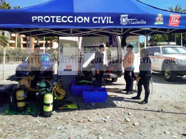 Puesto de mando avanzado de la Protección Civil de Marbella